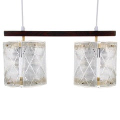 Double Crystal Light Fixture by Eriksmålaglas, 1950s, Scandinavian Crystal Light