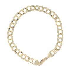 Double Curb Chain Bracelet, 14 Karat Yellow Gold Starter Charm Women's