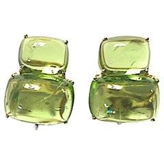 Double Cushion Cut Cabochon Peridot Yellow Gold Earrings