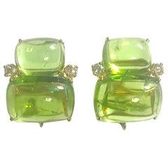 Double Cushion Cut Cabochon Peridot Yellow Gold Earrings with Diamonds