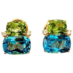 Double Cushion Peridot and Blue Topaz Stone Diamond Yellow Gold Earrings