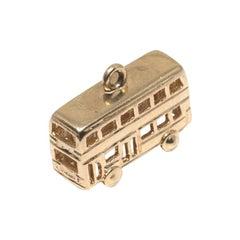 Double Decker London Bus 14 Karat Gold Charm
