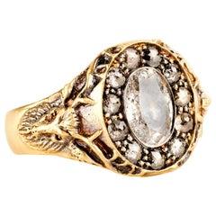Sylva & Cie Double Deer Grey Diamond Ring in 18k Yellow Gold