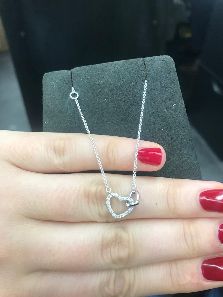 Contemporary Double Diamond Heart Necklace White Gold For Sale