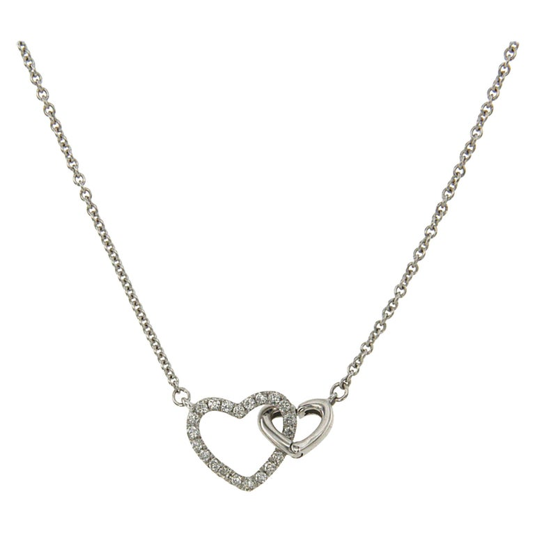 Double Diamond Heart Necklace White Gold For Sale