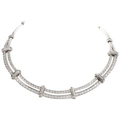 Double Diamond Link 18 Karat White Gold Choker Necklace