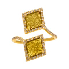 Double Diamond Slice Wrap Ring in 18k Yellow Gold with Pave Diamond Halo