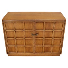 Double Door Buckle Latch Lattice and Brass Studs Front Credenza Console Cabinet
