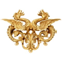 Double Dragon Brooch-Pendant in 14 Karat Yellow Gold