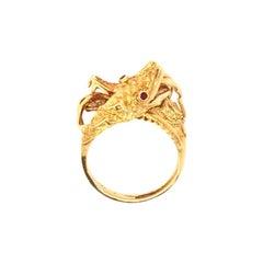 Double Dragon Head Ring in 18 Karat Yellow Gold