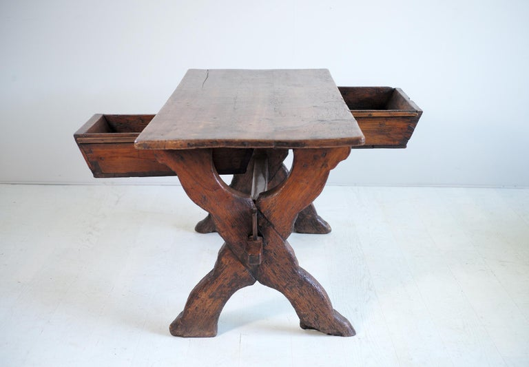 Wood Double Drawer Changer Table, Switzerland 17th Century For Sale