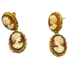 Double, Drop Cameo 14 karat Gold Earrings
