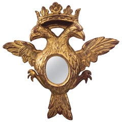 Double Eagle Head Crest and Crown Carved Giltwood Wall Mirror
