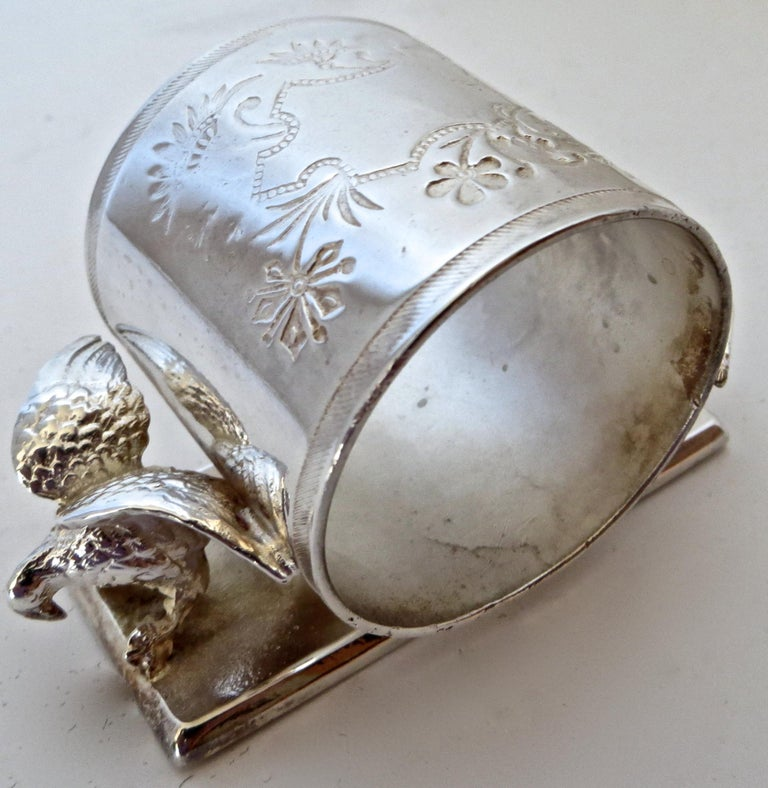 Animal and bird themed napkin rings were quite popular, and used frequently by silver plate manufacturers. They are highly sought after by collectors of Victorian figural napkin rings. Manufactured by the Middleton Plate Company, Middleton