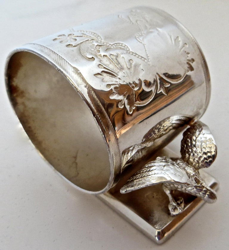 Double Eagle Silver Plated Victorian Figural Napkin Ring, American, circa 1885 In Good Condition For Sale In Incline Village, NV