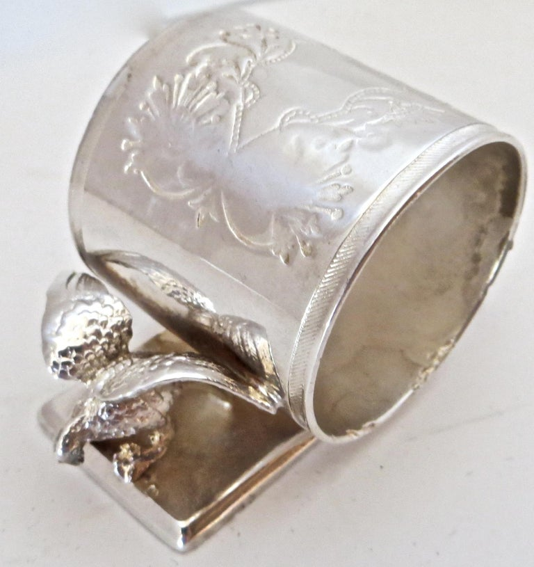 Late 19th Century Double Eagle Silver Plated Victorian Figural Napkin Ring, American, circa 1885 For Sale