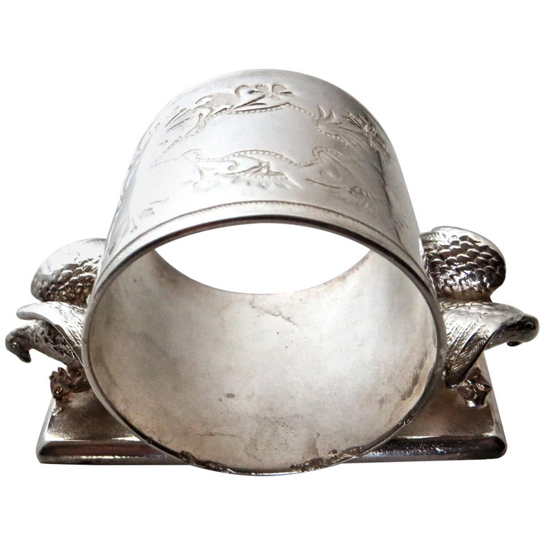 Double Eagle Silver Plated Victorian Figural Napkin Ring, American, circa 1885 For Sale
