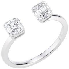 Double Emerald Cut Illusion Diamond Ring
