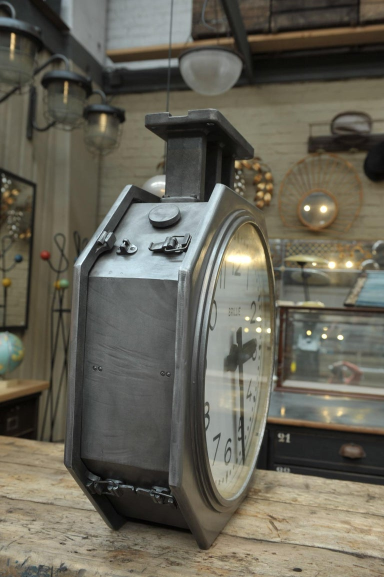 Double Face Brillié Large  Train Station Clock, circa 1950 In Good Condition For Sale In Roubaix, FR
