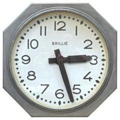 Double Face Brillié Large  Train Station Clock, circa 1950