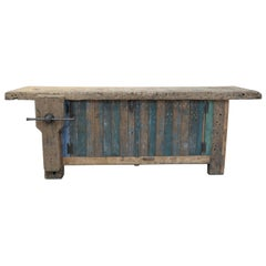 Double Face French Carpenter Workbench with Vice, circa 1930