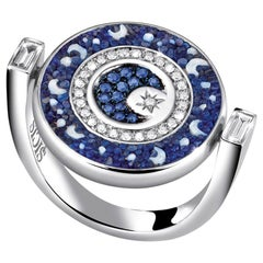 Double Face Ring White Gold White Diamonds Sapphires Hand Decorated Micro Mosaic