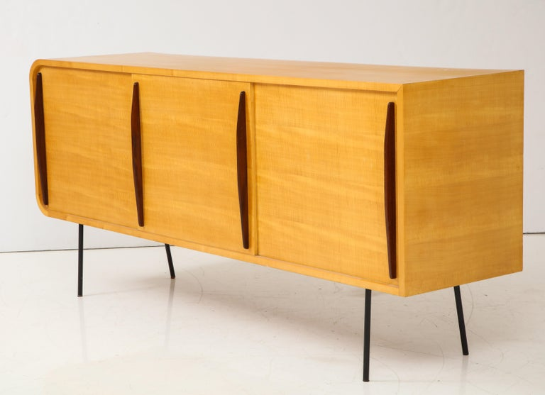 Mid-Century Modern Double Faced Sycamore Cabinet by Raphael, 20th Century For Sale
