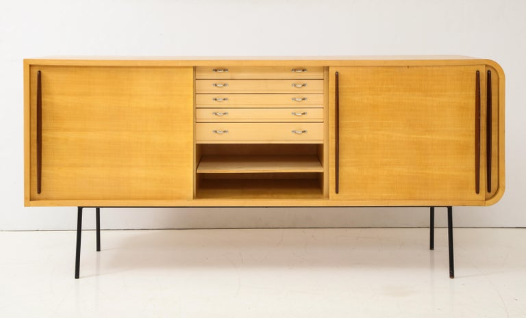 Mid-20th Century Double Faced Sycamore Cabinet by Raphael, 20th Century For Sale