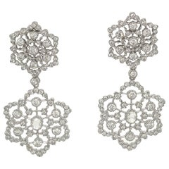 Double Floral Drop Earrings 2.54 Carat 18 Karat White Gold