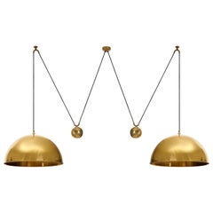 Double Florian Schulz Pendant Light, Brass Counterweight Counter Balance, 1970