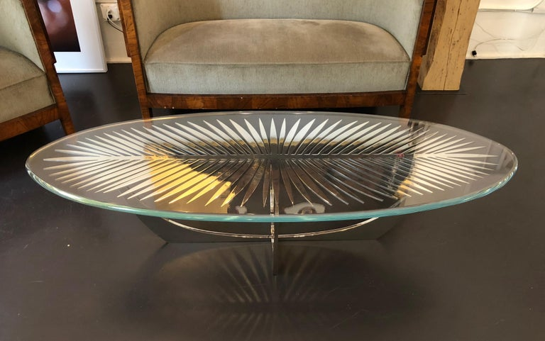 DOUBLE FROND COFFEE TABLE in Stainless Steel by Christopher Kreiling Studio For Sale 1