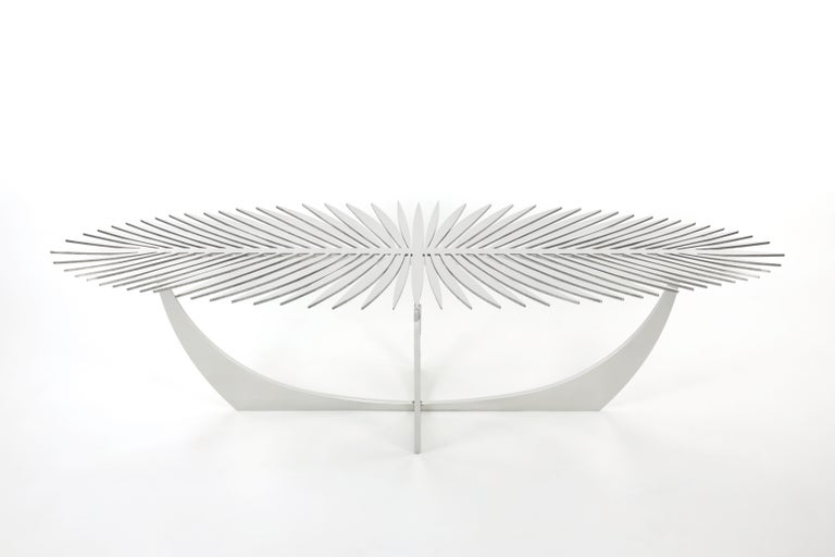 DOUBLE FROND COFFEE TABLE in Stainless Steel by Christopher Kreiling Studio In Good Condition For Sale In Pasadena, CA