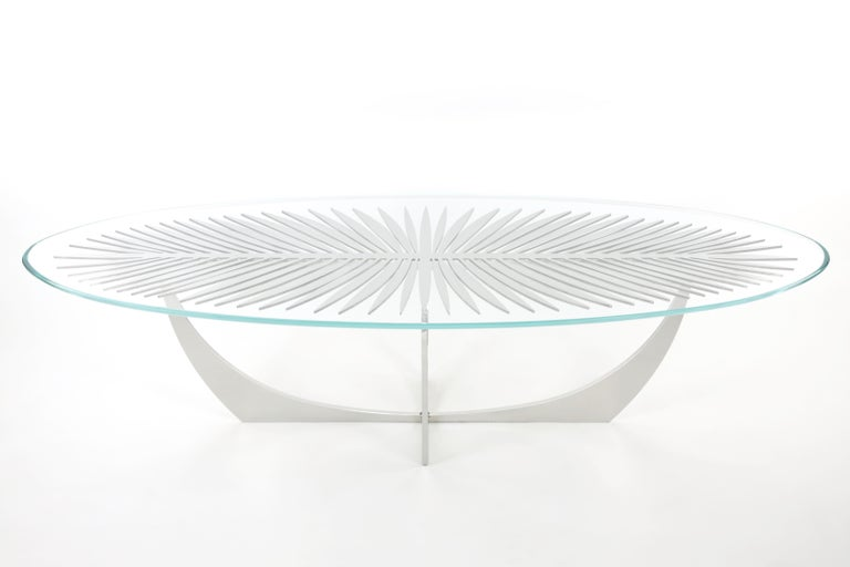 Contemporary  DOUBLE FROND COFFEE TABLE in Stainless Steel by Christopher Kreiling Studio For Sale