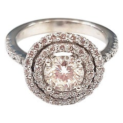 Double Halo Diamond and 18 Karat White Gold Ring