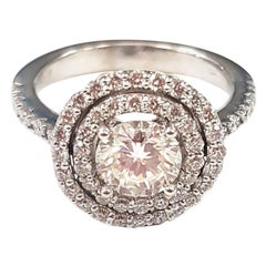 Double Halo Diamond and White Gold Ring
