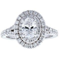Double Halo Diamond Engagement Ring with Split Shank and Oval Center