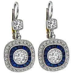 Double Halo Diamond Sapphire Platinum Gold Earrings