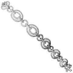 Double Halo Diamond Tennis Bracelet Pave Diamonds 14 Karat Gold