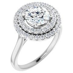 Double Halo GIA Round Brilliant White Diamond Engagement Ring 1.35 Carat