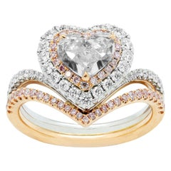 Double Halo Heart Engagement Ring, White Diamond, White and Rose Gold