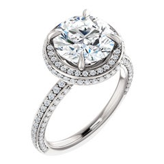 Double Halo Multi Row Diamond Accented GIA Certified Round Engagement Ring