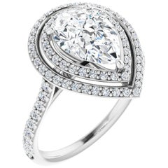 Double Halo Pear Shape Diamond Accented GIA Certified Engagement Wedding Ring