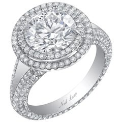 Neil Lane Couture Double Halo Round-Cut Diamond, Platinum Ring
