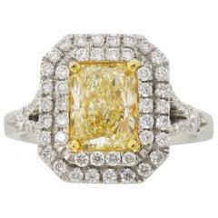 Double Halo Yellow Diamond Engagement Ring
