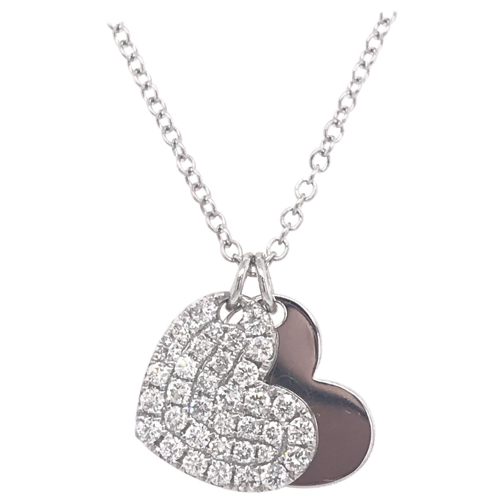 Double Heart Diamond Pendant Necklace 0.52 Carat 18 Karat White Gold
