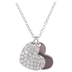 Double Heart Diamond Pendant Necklace 0.52 Carat 18 Karat White Gold