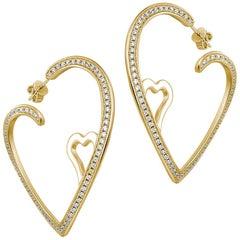 Double Heart Open Hoops