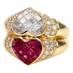 Double Heart Ruby Diamond 18 Karat Gold 1980s Cocktail Ring