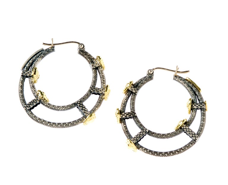 Aged Silver & 18K Gold Inside-out Hoop Earrings with Hearts by Stambolian  These are the