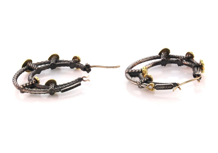Double Hoop Heart Earrings with Sterling Silver and Gold Stambolian In Excellent Condition For Sale In Boca Raton, FL